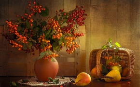 Picture branches, berries, table, basket, vase, fruit, still life, pear, napkin, Kalina