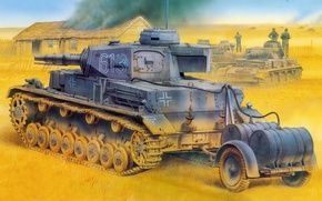 Picture figure, tank, the Germans, the second world war, the Wehrmacht, average, Diving tanks, Panzer 4