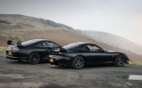 Picture desert, Japan, Mazda, black, Mazda, supra, black, japan, toyota, Toyota, RX-7, supra, richeza, the style, …