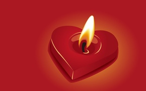 Picture fire, Heart, candle
