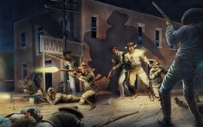 Picture night, the city, figure, battle, Mexico, art, soldiers, clash, the rebels, troops, Imperial