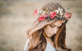 Picture girl, flowers, mood, wreath