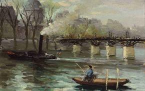 Picture landscape, bridge, boat, picture, boat, Marseille Dif, Seine in Paris, Pont des Arts and Institut …