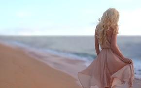 Picture sand, sea, beach, girl, dress, blonde