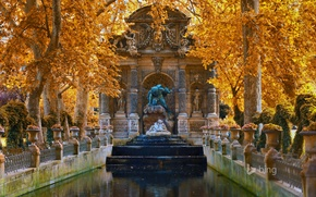 Picture flowers, fountain, France, Paris, trees, Luxembourg gardens, autumn, landscape