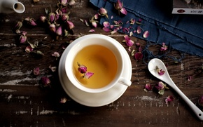 Picture tea, roses, dry, spoon, Cup, white, pink, saucer