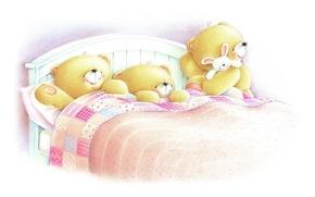 Picture mood, sleep, art, bear, children's, cot, Forever Friends Deckchair bear