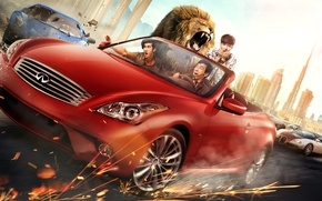 Picture road, machine, red, the city, speed, the situation, Leo, sparks, driving, car, poster, Jackie Chan, …