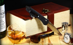 Picture watch, glass, tube, lighter, knife, folding, benchmade, m390, .whiskey, book-box, McHenry & Williams
