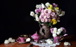 Picture tea, candy, still life, chrysanthemum