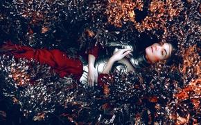 Wallpaper girl, armor, flowers, Kindra Nikole