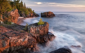 Picture sea, autumn, trees, landscape, lake, rocks, Canada, Ontario