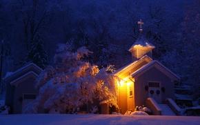 Picture winter, calm, snow, church, rest