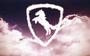 Picture the sky, clouds, aircraft, logo, ferrari, Ferrari