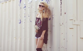 Picture girl, woman, smile, flowers, model, garage, laugh, blond, blonde, female, curls, container, Veronica Mae McCracken