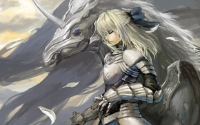 Picture girl, horse, wings, art, unicorn, saber, fate stay night, shuyinnosi