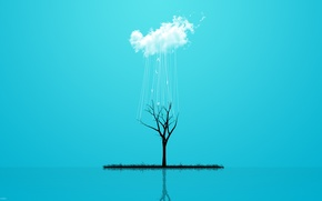 Picture grass, style, reflection, rain, tree, minimalism, cloud, grass, rain, minimalism, style, cloud, tree, 2560x1600, reflection