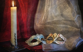 Picture candle, blind, mask