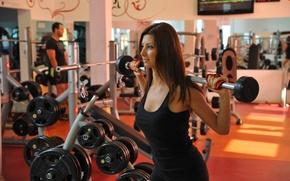Picture female, workout, gym, weight bar