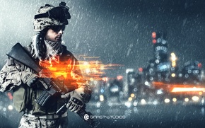 Picture the city, soldiers, rifle, Battlefield