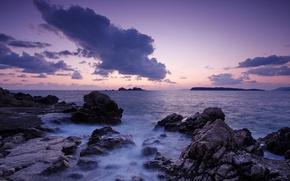 Picture sea, sunset, Dubrovnik, Croatia