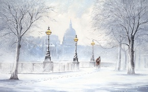 Picture winter, snow, trees, traces, the city, street, picture, lights, two, snowfall, Boulevard, Jeff Rowland