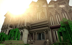 Picture the sky, the sun, trees, the building, minecraft