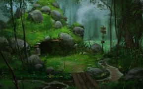 Wallpaper forest, bridge, stones, art, index, cave, river, den