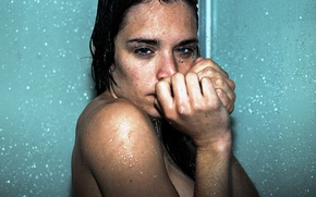Picture look, girl, drops, wet, shower, freckles
