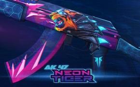 Picture line, animal, AK-47, paint, interference, workshop, cs go, custom paint job, neon tiger