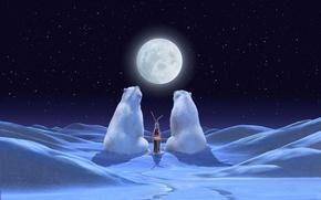 Picture Coca-Cola, winter, brand, moon, polar bear, polar, night, night, bears, stars, advertising, coca-cola, snow, Holiday, ...