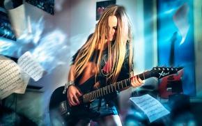 Picture notes, guitar, rock, guitarist