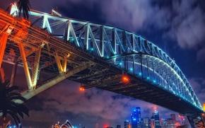 Picture night, bridge, lights, home, Australia, theatre, Sydney
