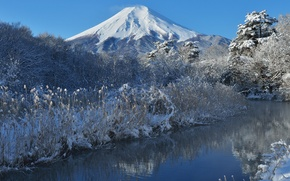 Picture winter, the sky, snow, trees, nature, river, mountain, Japan, Fuji