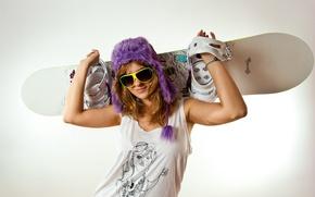 Picture girl, sport, equipment, skateboard