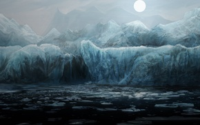 Picture mountains, art, cold, sea, the moon, water, night, the ocean, ice, ice