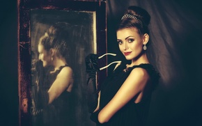 Picture girl, reflection, mirror, vintage, retro style