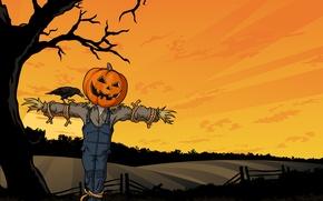 Wallpaper field, fright, tree, Halloween, pumpkin, Halloween, crow, stuffed, Horror, pumpkin, creepy, HORROR, FRIGHT, FIELD, CREEPY, ...
