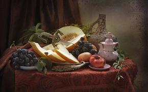 Picture dragon, kettle, grapes, fruit, still life, peach, melon