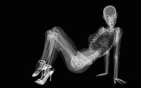 Picture girl, skeleton, x-ray, black background