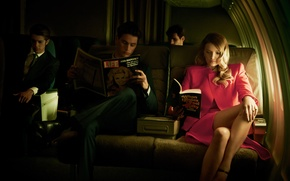 Picture girl, the plane, model, journal, salon, men, Lily Donaldson, read, Lily Donaldson