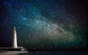 Picture sea, the sky, stars, night, coast, lighthouse, the milky way