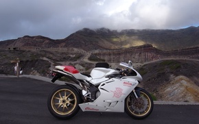 Picture white, the sky, clouds, mountains, motorcycle, white, bike, MV Agusta, mV Agusta, supersport
