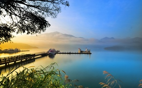 Picture the sky, landscape, lake, ships