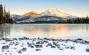 Picture winter, snow, trees, mountains, nature, river, USA