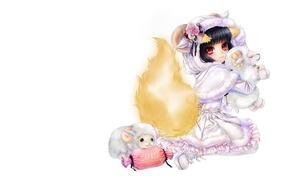 Picture gift, anime, art, girl, lamb, Fox, ponytail, suit, card game, Ayakashi pandemonium, Ayakashi Hyakki, date …