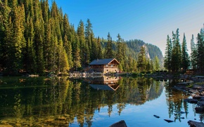 Picture summer, house, forest, river, hills, reflection, cabin, like