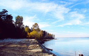 Picture sand, sea, autumn, forest, the sky, water, trees, river, foliage