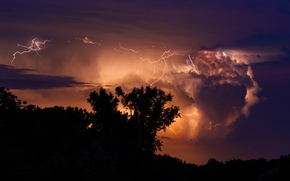 Picture the storm, the sky, clouds, clouds, lightning, silhouettes