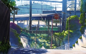Picture greens, summer, street, posts, wire, the fence, station, art, kotonoha no niwa, makoto shinkai, garden …